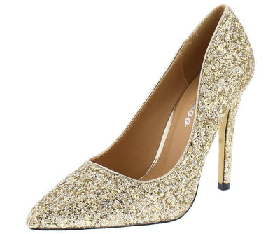 Monica100 Soft Gold Glitter Pointed Toe Stiletto Pump Heel - Wholesale Fashion Shoes