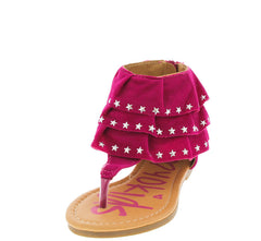 MONICA23K FUCHSIA STAR RUFFLE KIDS SANDAL - Wholesale Fashion Shoes