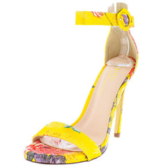 MONICA YELLOW MULTI FLORAL WOVEN OPEN TO STILETTO HEEL - Wholesale Fashion Shoes