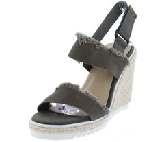 Monroe01 Olive Frayed Dual Strap Espadrille Lug Sole Wedge - Wholesale Fashion Shoes