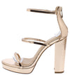 Jessica020 Rose Gold Tri Strap Low Platform Block Heel - Wholesale Fashion Shoes