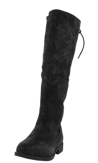 Montana24 Black Distressed Dual Tone Rear Lace Up Knee High Boot - Wholesale Fashion Shoes