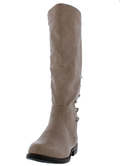 Montana68s Taupe Round Toe Top Stitched Lace Up Boot - Wholesale Fashion Shoes