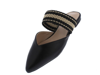 Montano Black Plunge Pointed Toe Braided Strap Mule Heel - Wholesale Fashion Shoes