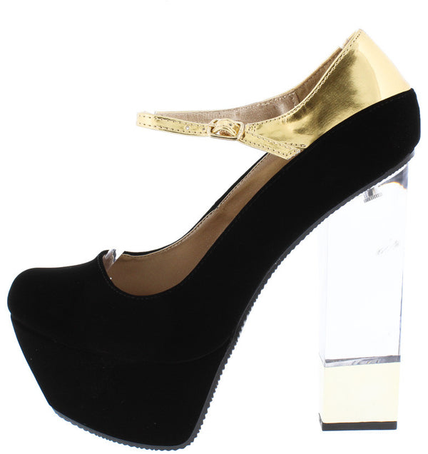 c8896f94bb6a Monte09 Black Single Strap Clear Lucite Gold Tip Heel