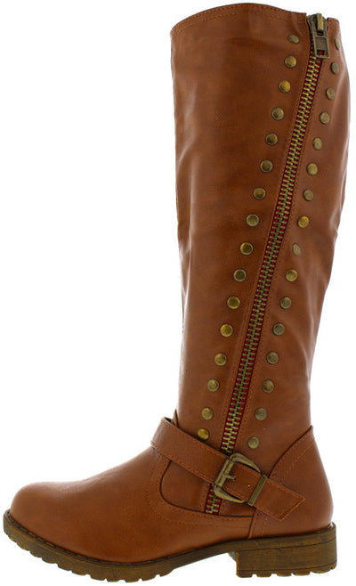 Monterey01 Chestnut Studded Riding Boot - Wholesale Fashion Shoes
