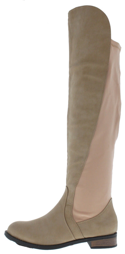 Moore1 Nude Back Panel Riding Boot - Wholesale Fashion Shoes