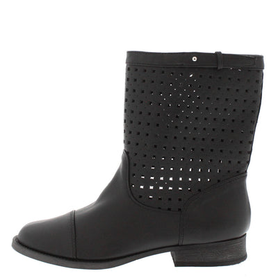 Mora Black Perforated Laser Cut Short Boot - Wholesale Fashion Shoes