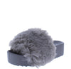Morgan02 Grey Open Toe Faux Fur Platform Slide Sandal
