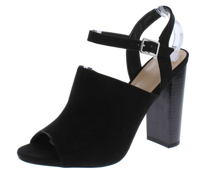 Morris211 Black Peep Toe Slingback Ankle Strap Stacked Heel - Wholesale Fashion Shoes