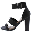 Morris280 Black Tri Strap Open Toe Tall Tapered Heel - Wholesale Fashion Shoes