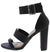 Morris280 Black Tri Strap Open Toe Tall Tapered Heel
