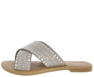 Moss Light Clay Studded Cross Strap Mule Slide Sandal - Wholesale Fashion Shoes