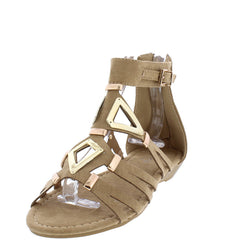 MOSSO02 TAUPE SUEDE GOLD METAL STRAPPY SANDAL FLAT - Wholesale Fashion Shoes