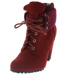 MOZZA19L BURGUNDY LACE UP FOLD OVER SWEATER CUFF LUG BOOT - Wholesale Fashion Shoes