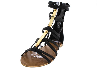 Musica Black Gold Embellished Gladiator Boot - Wholesale Fashion Shoes