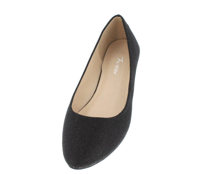 Mylie04 Black Shimmer Almond Toe Flat - Wholesale Fashion Shoes