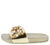 Molly278 Gold Jewel Embellished Open Toe Mule Slide Flat