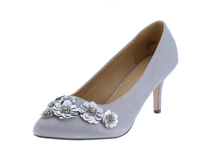 Savannah249 Silver Pointed Toe Sequin Flower Kitten Heel - Wholesale Fashion Shoes