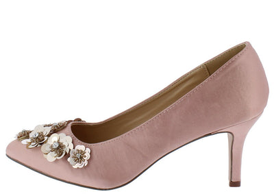 Savannah249 Mauve Pointed Toe Sequin Flower Kitten Heel - Wholesale Fashion Shoes