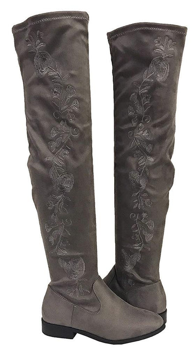 News Charcoal Faux Suede Floral Side Stitch Thigh High Boot - Wholesale Fashion Shoes