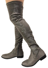 NEWS CHARCOAL FAUX SUEDE WOMEN'S BOOT - Wholesale Fashion Shoes