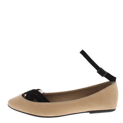Nifty Nude Black Ankle Strap Flat - Wholesale Fashion Shoes