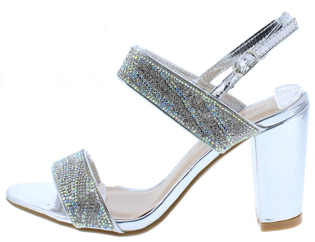 9741a6b84 Nora31 Silver Rhinestone Embellished Open Toe Chunky Heel - Wholesale  Fashion Shoes