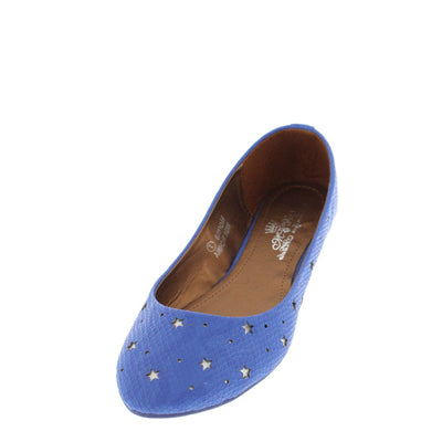 Norma Royal Blue Faux Python Star Flat - Wholesale Fashion Shoes