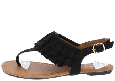 Nacho Black Ruffle Slingback Thong Sandal - Wholesale Fashion Shoes