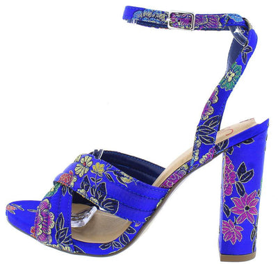 Nafisa Blue Multi Print Crossing Straps Heel - Wholesale Fashion Shoes