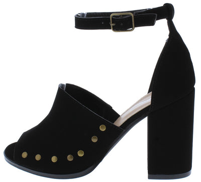 Naida2 Black Studded Pep Toe Ankle Strap Chunky Heel - Wholesale Fashion Shoes