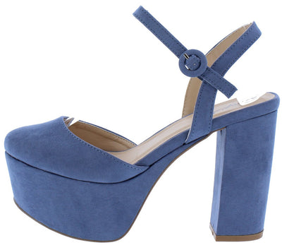 Nala01 Ocean Blue Suede Almond Toe Chunky Platform Heel - Wholesale Fashion Shoes