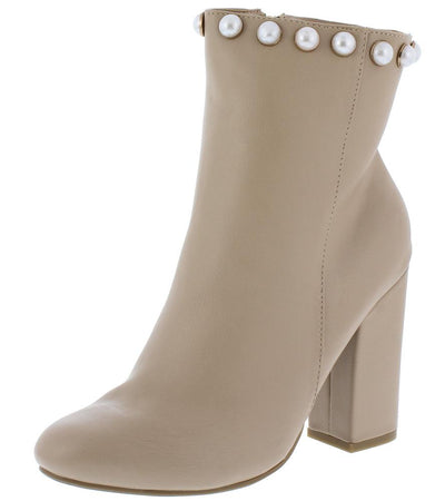 Namaste14m Nude Pearl Stud Chunky Heel Boot - Wholesale Fashion Shoes