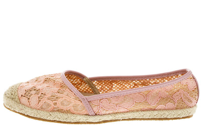 Nana Pink Beige Lace Espadrille Flat - Wholesale Fashion Shoes