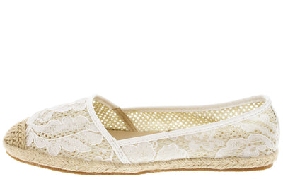Nana White Beige Lace Espadrille Flat - Wholesale Fashion Shoes