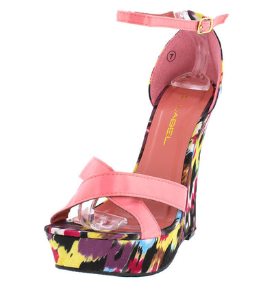 Nancy4 Pink Satin Colorful Platform Wedge - Wholesale Fashion Shoes