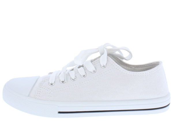 e1c90d4eac8a Narnia01 White Canvas Lace Up Rubber Sole Tennis Shoe Flat