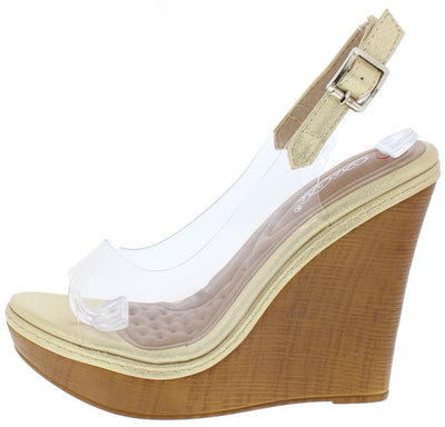 Nassa28 Gold Clear Peep Toe Slingback Wedge - Wholesale Fashion Shoes