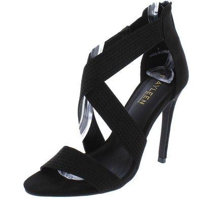 Nastia7 Black Open Toe X Strap Rear Zip Stiletto Heel - Wholesale Fashion Shoes