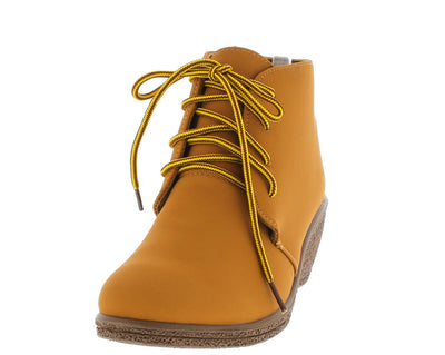 Natashawy3 Camel Lace Up Wedge Ankle Boot - Wholesale Fashion Shoes
