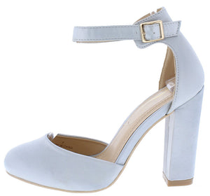 3d1e7af186f5 Nelia3 Light Grey Almond Toe Ankle Strap Chunky Heel - Wholesale Fashion  Shoes