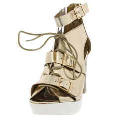 NELLA02 CHAMPAGNE CUT-OUT BUCKLE LACE UP HEEL - Wholesale Fashion Shoes