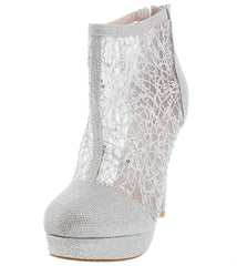 NELLIE01 SILVER MESH SEQUIN ANKLE BOOT - Wholesale Fashion Shoes
