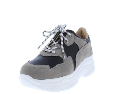 Grace031 Black Grey Multi Round Toe Lace Up Sneaker Flat - Wholesale Fashion Shoes