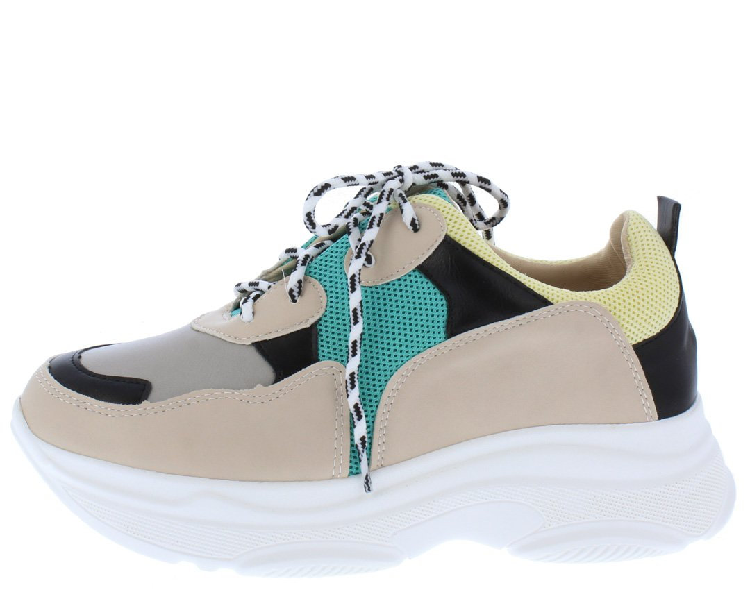 a41d6c6492dd Grace031 Green Yellow Multi Round Toe Lace Up Sneaker Flat - Wholesale  Fashion Shoes