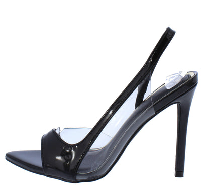 Diana077 Black Lucite Pointed Open Toe Slingback Heel - Wholesale Fashion Shoes