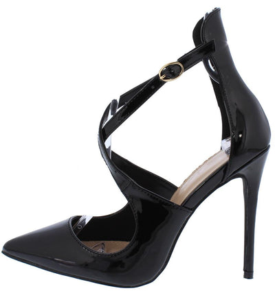 Victoria099 Black Pointed Toe Cross Strap Stiletto Heel - Wholesale Fashion Shoes