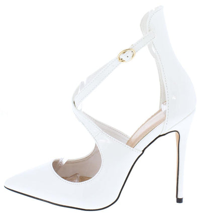 Victoria099 White Pointed Toe Cross Strap Stiletto Heel - Wholesale Fashion Shoes