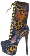 New Jennifer Navy Multi Leopard Platform Stiletto Boot - Wholesale Fashion Shoes